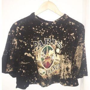 Vintage 90s PARIS cropped Bleach TieDye tee SZ:M